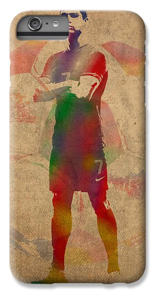 Cristiano Ronaldo Soccer Football Player Portugal Real Madrid Watercolor Painting On Worn Canvas IPhone 6 Plus Case by Design Turnpike
