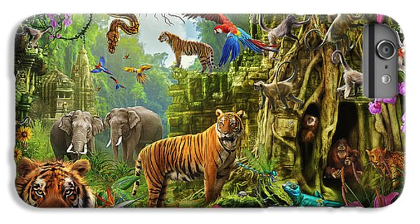 IPhone 6 Plus Case featuring the drawing Dark Jungle Temple And Tigers by Ciro Marchetti