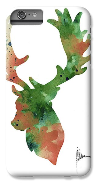 Deer iPhone 6 Plus Case - Deer Antlers Silhouette Watercolor Art Print Painting by Joanna Szmerdt