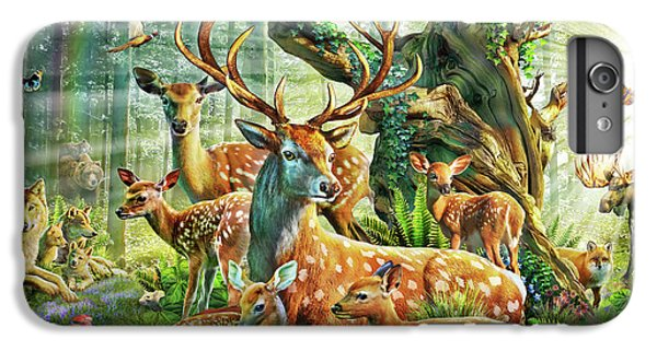 IPhone 6 Plus Case featuring the drawing Deer Family In The Forest by Adrian Chesterman