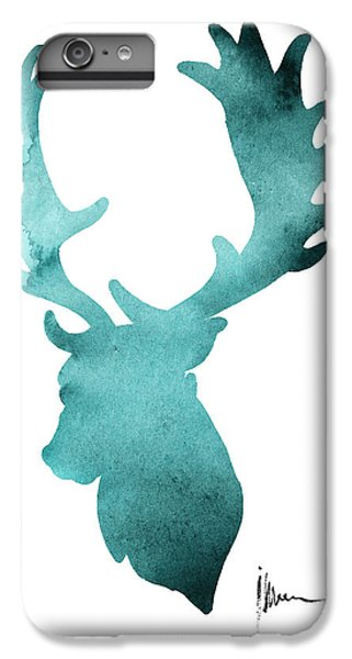 Deer iPhone 6 Plus Case - Deer Head Silhouette Painting Watercolor Art Print by Joanna Szmerdt