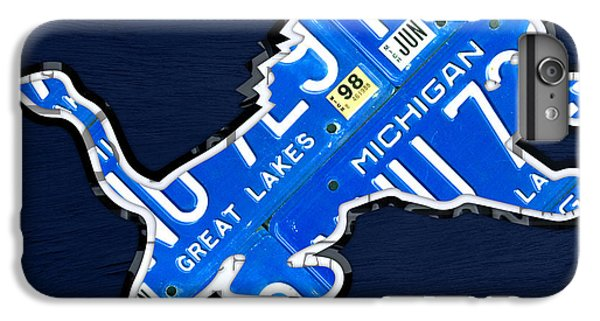 Lion iPhone 6 Plus Case - Detroit Lions Football Team Retro Logo License Plate Art by Design Turnpike