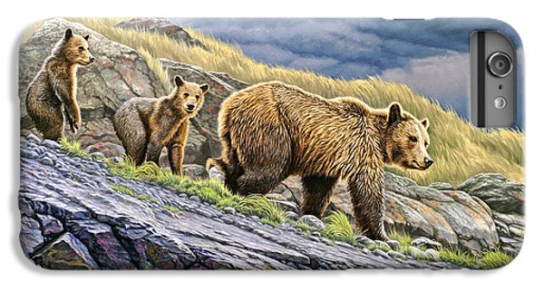 Bear iPhone 6 Plus Case - Dunraven Pass Grizzly Family by Paul Krapf