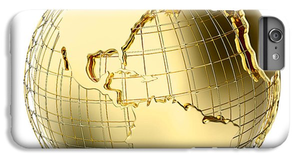 Planets iPhone 6 Plus Case - Earth In Gold Metal Isolated On White by Johan Swanepoel
