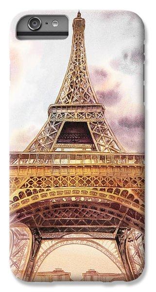 IPhone 6 Plus Case featuring the painting Eiffel Tower Vintage Art by Irina Sztukowski