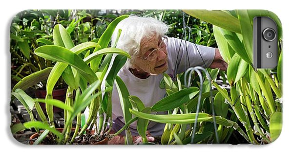 Elderly Woman Examining Plants IPhone 6 Plus Case by Jim West