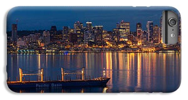 Elliott Bay Seattle Skyline Night Reflections  IPhone 6 Plus Case by Mike Reid