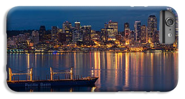 Elliott Bay Seattle Skyline Night Reflections  IPhone 6 Plus Case by Mike Reid
