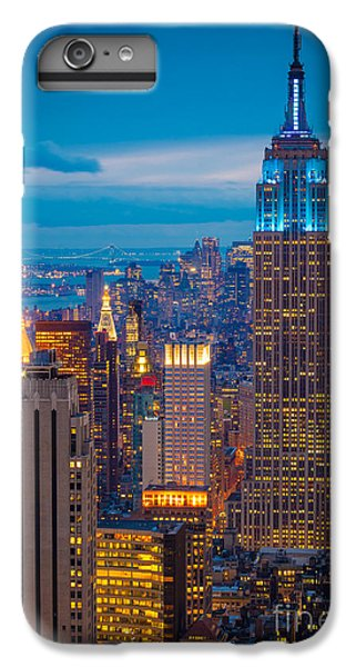 City Scenes iPhone 6 Plus Case - Empire State Blue Night by Inge Johnsson