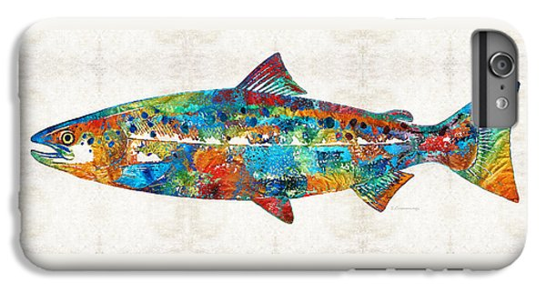 Salmon iPhone 6 Plus Case - Fish Art Print - Colorful Salmon - By Sharon Cummings by Sharon Cummings
