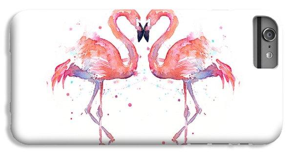 Animal iPhone 6 Plus Case - Flamingo Love Watercolor by Olga Shvartsur