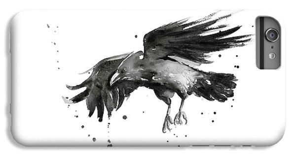 Raven iPhone 6 Plus Case - Flying Raven Watercolor by Olga Shvartsur