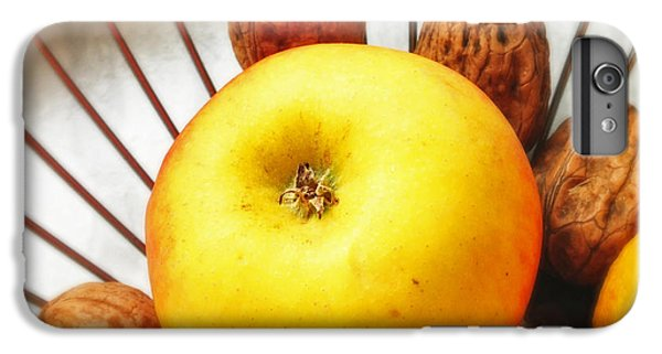 Orange iPhone 6 Plus Case - Food Still Life - Yellow Apple And Brown Walnuts - Beautiful Warm Colors by Matthias Hauser