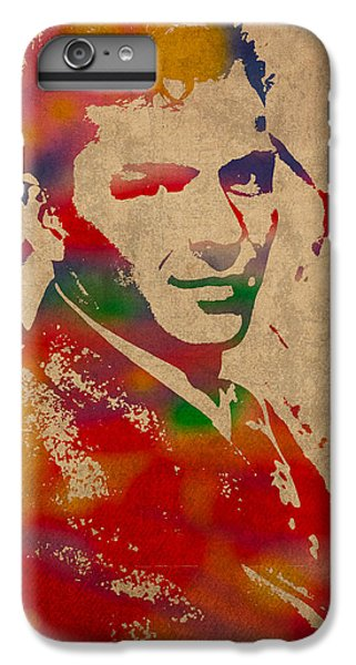 Frank Sinatra Watercolor Portrait On Worn Distressed Canvas IPhone 6 Plus Case by Design Turnpike