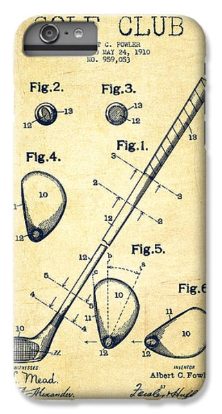 Golf Club Patent Drawing From 1910 - Vintage IPhone 6 Plus Case by Aged Pixel