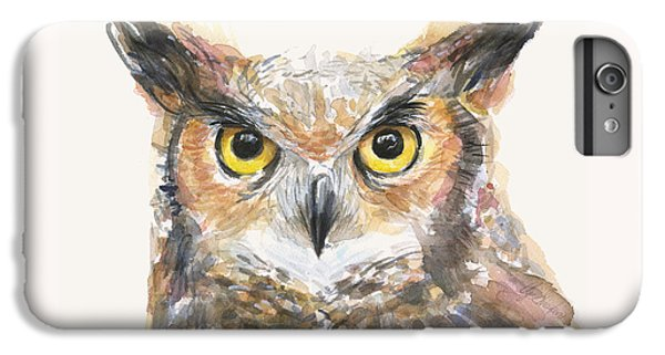 Owl iPhone 6 Plus Case - Great Horned Owl Watercolor by Olga Shvartsur