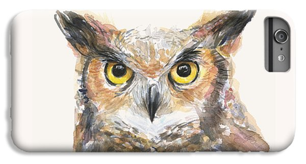 Great Horned Owl Watercolor IPhone 6 Plus Case by Olga Shvartsur