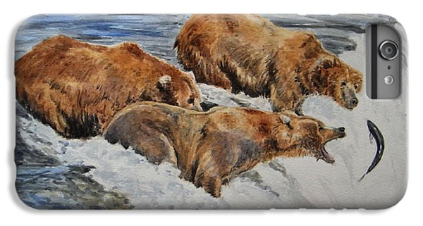 Salmon iPhone 6 Plus Case - Grizzlies Fishing by Juan  Bosco
