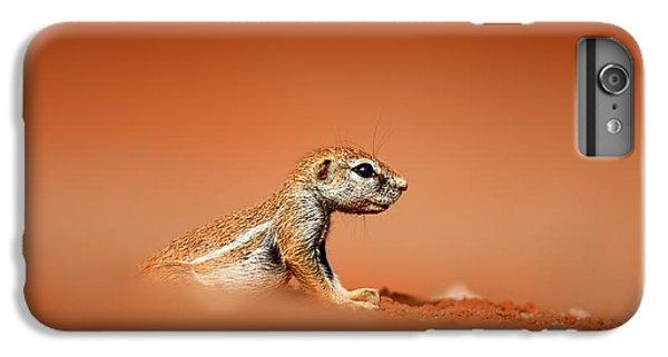Squirrel iPhone 6 Plus Case - Ground Squirrel On Red Desert Sand by Johan Swanepoel