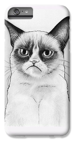 Cat iPhone 6 Plus Case - Grumpy Cat Portrait by Olga Shvartsur