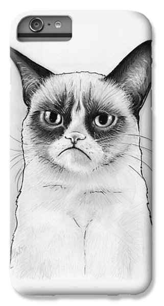 Cats iPhone 6 Plus Case - Grumpy Cat Portrait by Olga Shvartsur