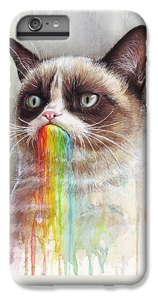 Grumpy Cat Tastes The Rainbow IPhone 6 Plus Case by Olga Shvartsur