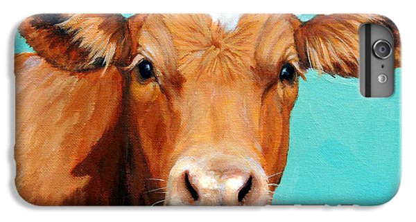 Cow iPhone 6 Plus Case - Guernsey Cow On Light Teal No Horns by Dottie Dracos