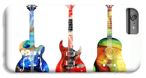 Rock And Roll iPhone 6 Plus Case - Guitar Threesome - Colorful Guitars By Sharon Cummings by Sharon Cummings