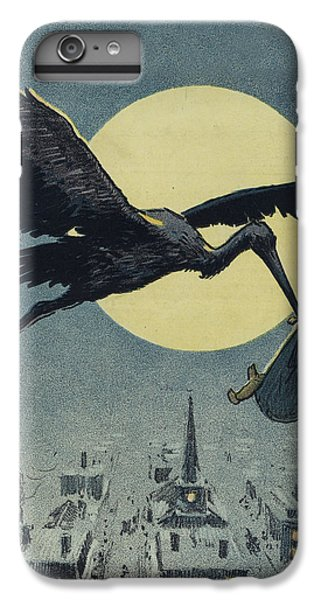 Stork iPhone 6 Plus Case - Here Comes The Stork Circa Circa 1913 by Aged Pixel