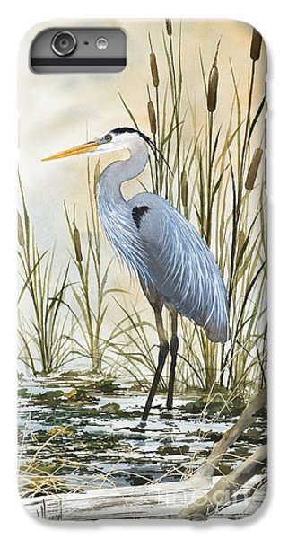 Heron iPhone 6 Plus Case - Heron And Cattails by James Williamson