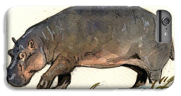 Hippo Walk IPhone 6 Plus Case by Juan  Bosco