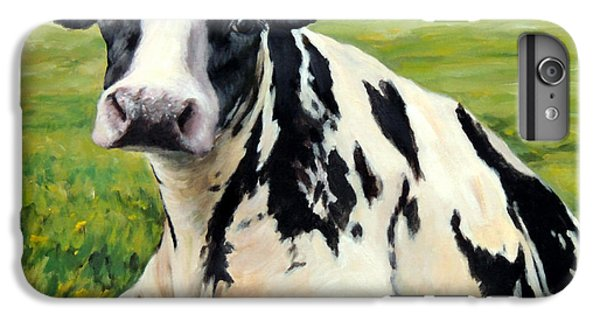 Cow iPhone 6 Plus Case - Holstein Cow Relaxing In Field by Dottie Dracos