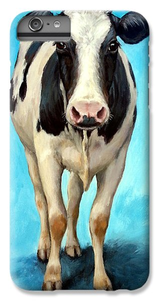 Cow iPhone 6 Plus Case - Holstein Cow Standing On Turquoise by Dottie Dracos