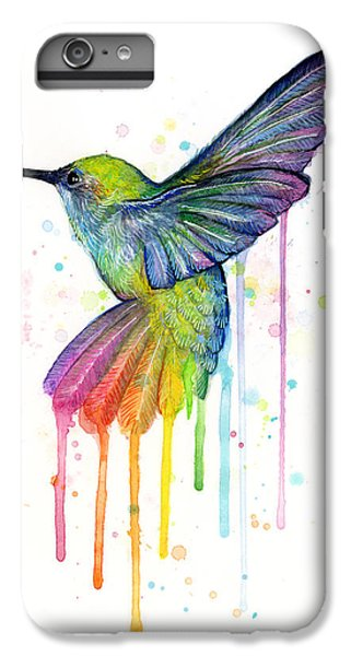 Beautiful iPhone 6 Plus Case - Hummingbird Of Watercolor Rainbow by Olga Shvartsur