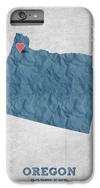 I Love Portland Oregon- Blue IPhone 6 Plus Case by Aged Pixel