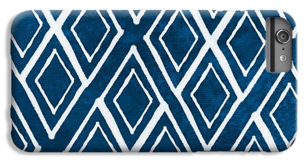 Blue iPhone 6 Plus Case - Indgo And White Diamonds Large by Linda Woods