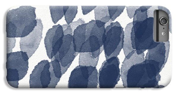 Indigo Rain- Abstract Blue And White Painting IPhone 6 Plus Case by Linda Woods
