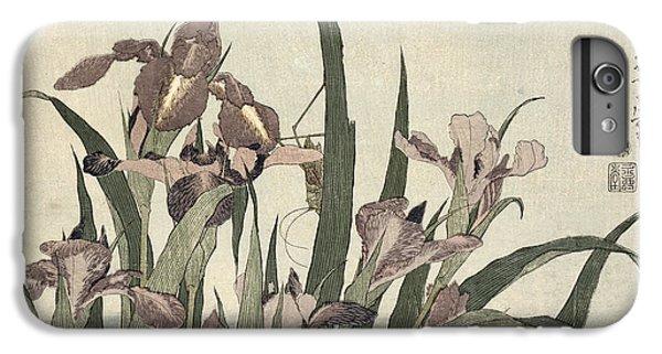 Grasshopper iPhone 6 Plus Case - Irises And Grasshopper by Katsushika Hokusai
