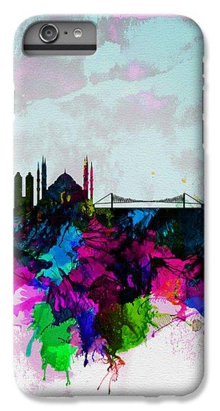 Turkey iPhone 6 Plus Case - Istanbul Watercolor Skyline by Naxart Studio