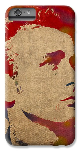 James Dean Watercolor Portrait On Worn Distressed Canvas IPhone 6 Plus Case by Design Turnpike