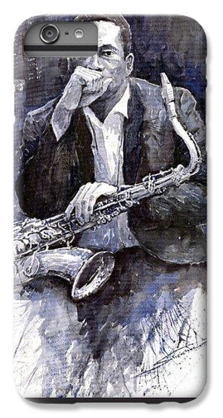 Jazz iPhone 6 Plus Case - Jazz Saxophonist John Coltrane Black by Yuriy Shevchuk