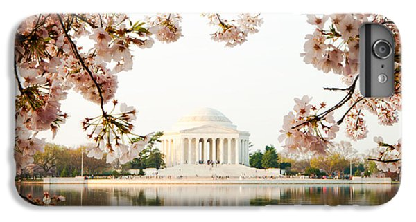 Jefferson Memorial iPhone 6 Plus Case - Jefferson Memorial With Reflection And Cherry Blossoms by Susan Schmitz