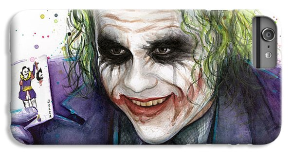 Joker Watercolor Portrait IPhone 6 Plus Case by Olga Shvartsur