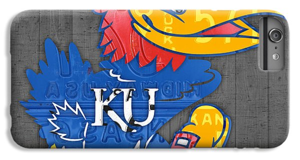 Kansas Jayhawks College Sports Team Retro Vintage Recycled License Plate Art IPhone 6 Plus Case by Design Turnpike