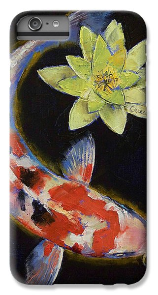 Koi With Yellow Water Lily IPhone 6 Plus Case by Michael Creese