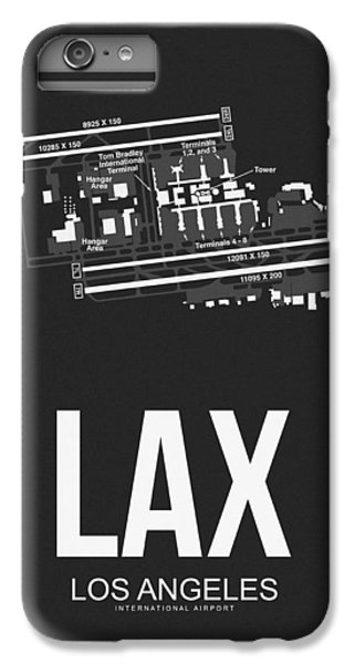 Airplane iPhone 6 Plus Case - Lax Los Angeles Airport Poster 3 by Naxart Studio