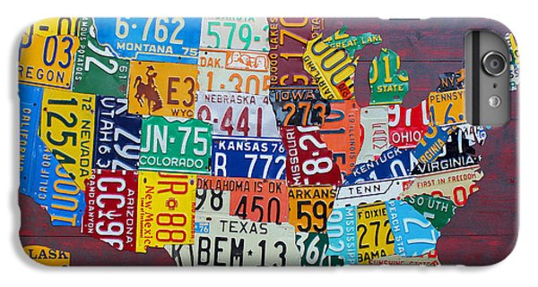 Car iPhone 6 Plus Case - License Plate Map Of The United States by Design Turnpike