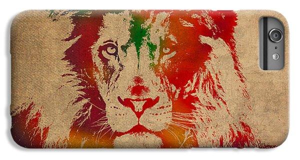 Lion iPhone 6 Plus Case - Lion Watercolor Portrait On Old Canvas by Design Turnpike