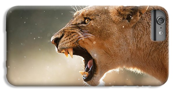 Lion iPhone 6 Plus Case - Lioness Displaying Dangerous Teeth In A Rainstorm by Johan Swanepoel