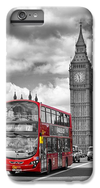 London - Houses Of Parliament And Red Bus IPhone 6 Plus Case by Melanie Viola